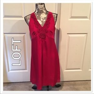 Loft Red Rosette Silk Dress